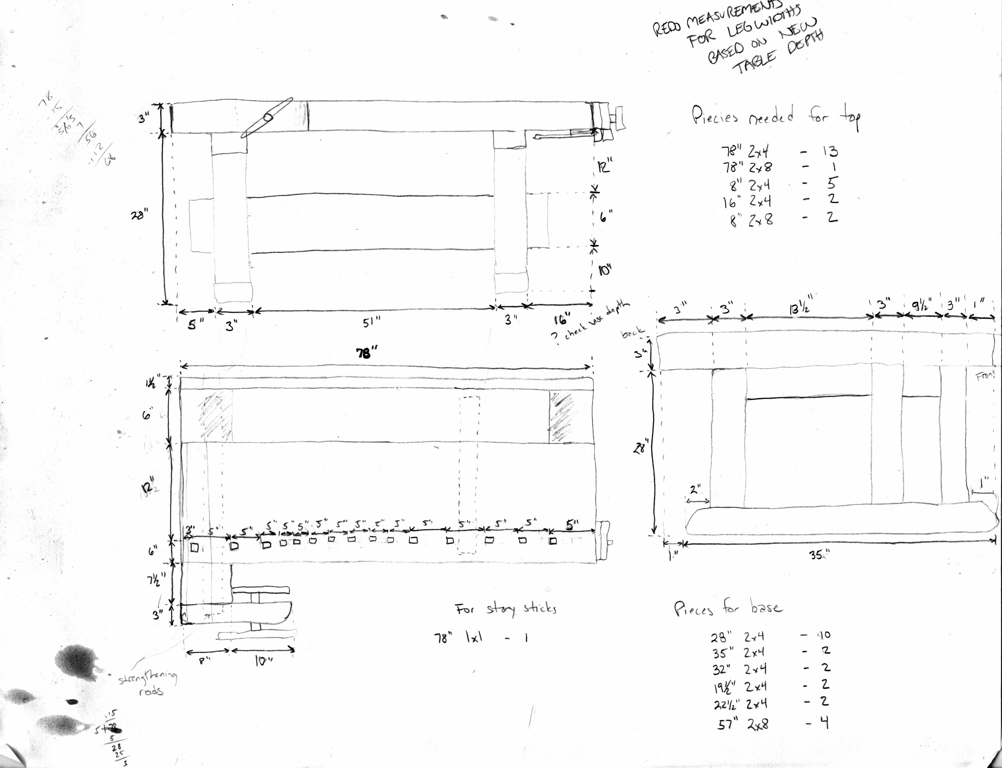 woodwork bench width